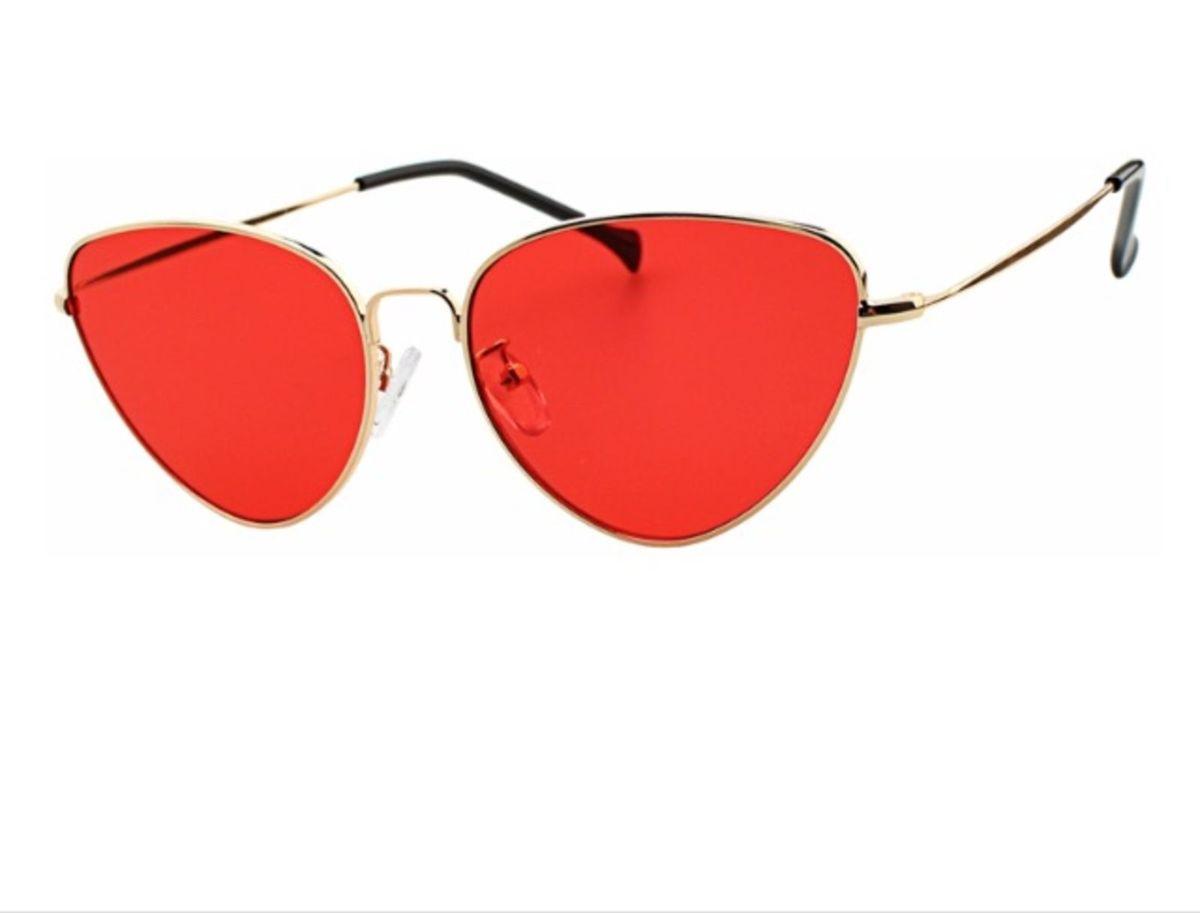 Óculos de Sol Gatinho Lente Vermelha   Óculos Feminino Nunca Usado ... 9303c7a092