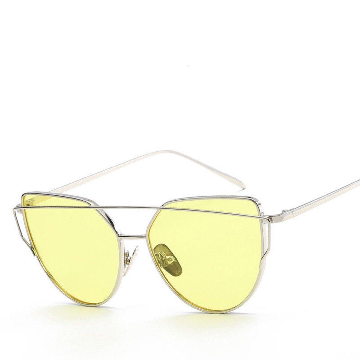 Óculos de Sol Gatinho - Lentes Amarelas   Óculos Feminino Nunca ... 31992358a4