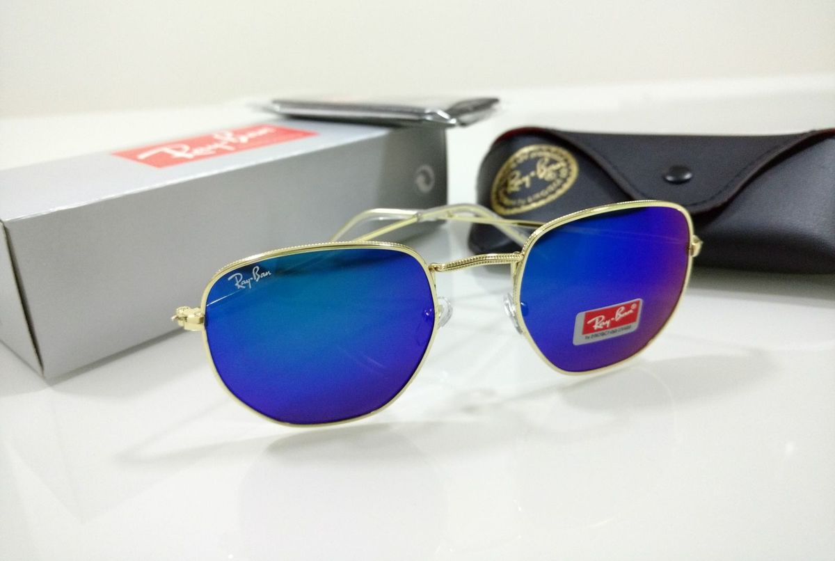 óculos de sol hexagonal espelhado azul ray ban feminino e masculino - óculos  sem marca e2674289cb