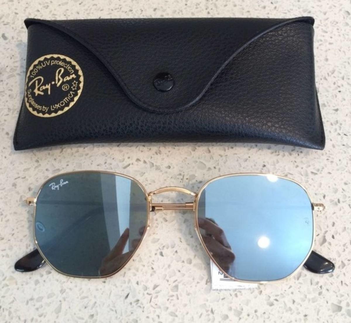 faf73c603 Óculos de Sol Hexagonal Espelhado Prata Unissex | Óculos Feminino ...