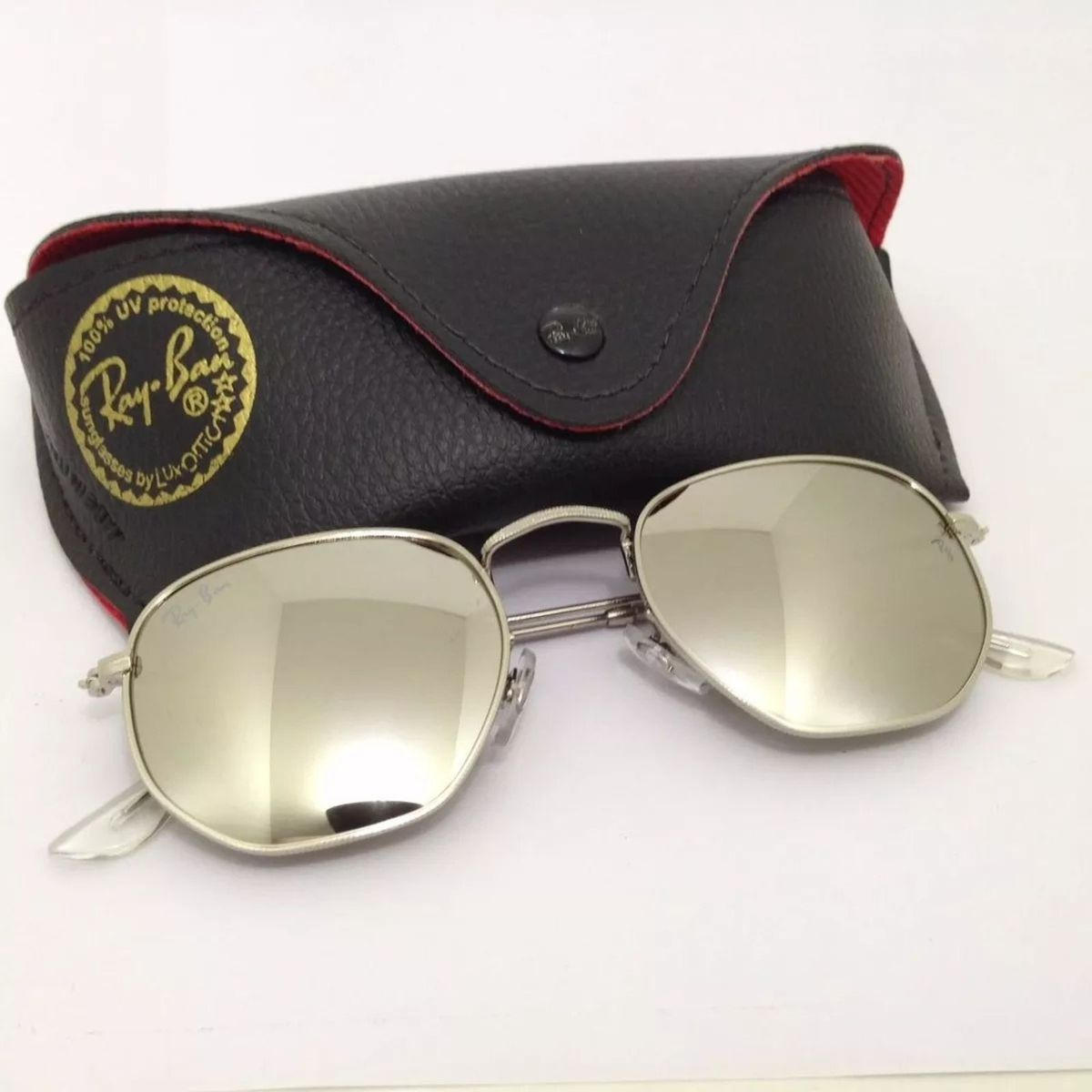óculos de sol hexagonal ray ban espelhado prata masculino feminino - óculos  sem marca 712ae68293