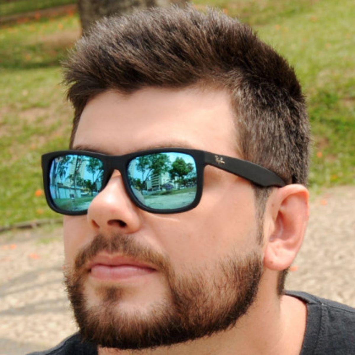 f29c24cff Óculos de Sol Justin 4165 Ray-ban Espelhado Azul Masculino e Feminino. |  Óculos Masculino Ray Ban Nunca Usado 31017892 | enjoei
