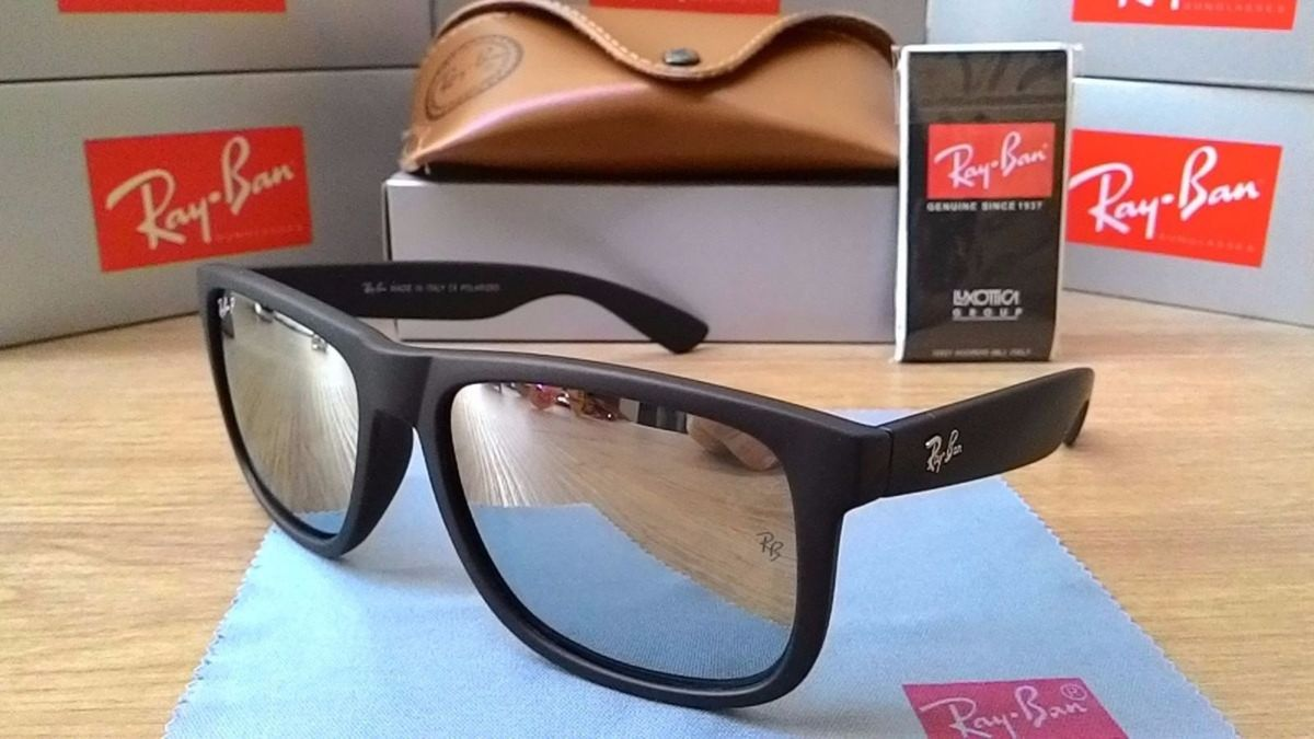 06e8bd256 óculos de sol justin rb4165 lente espelhada polarizado - óculos ray-ban
