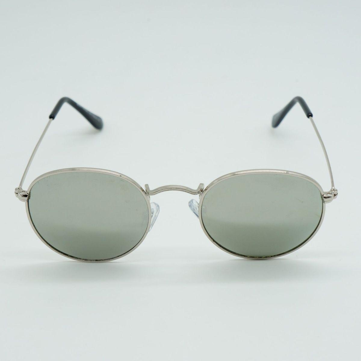 d131dc2d25b8c oculos de sol masculino redondo prata cinza espelhado proteção uva uvb -  óculos sem marca