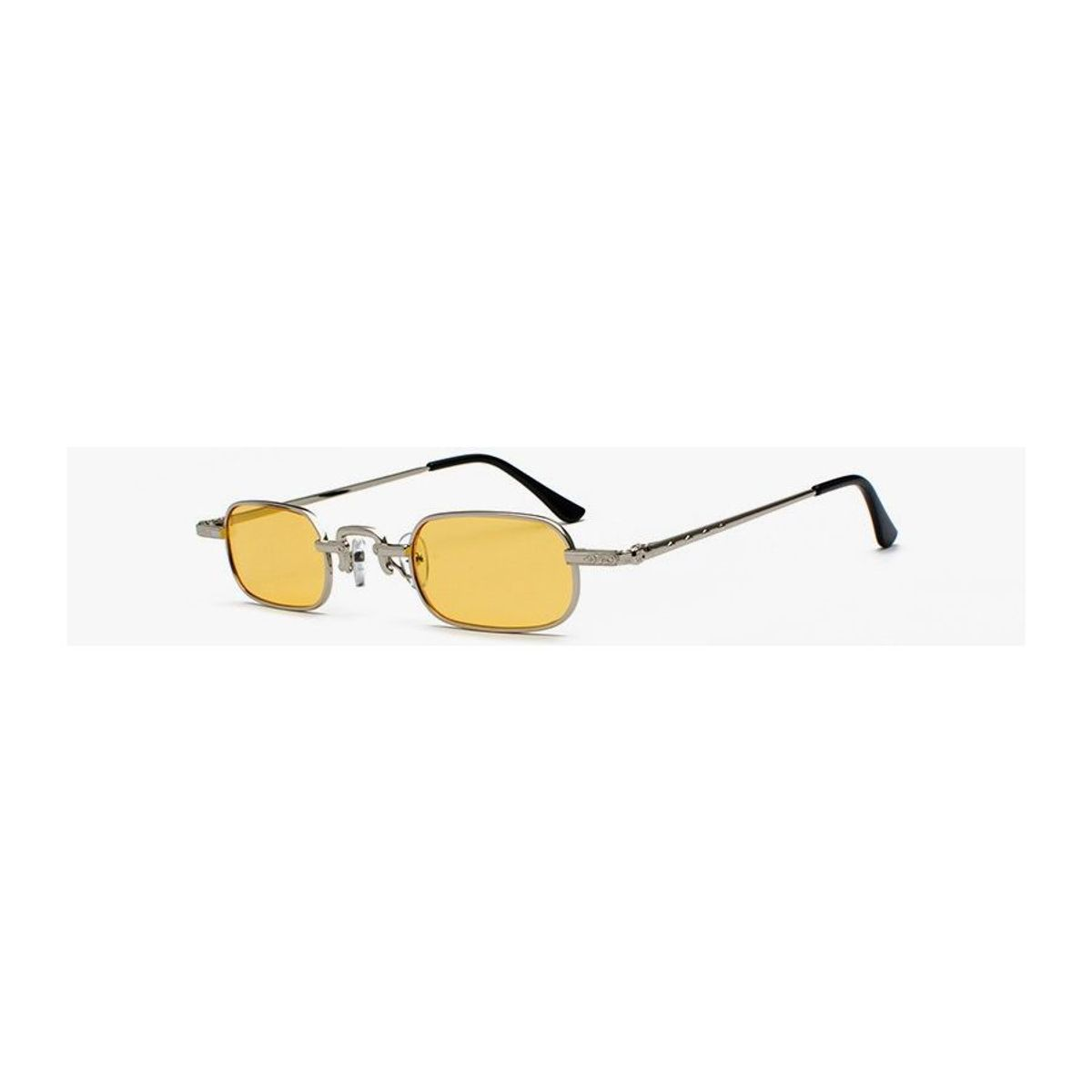 9bc6d8592 Óculos de Sol Milão / Retangular Retrô Vintage Metal Prata Mini Slim  Pequeno Lente Amarela | Óculos Feminino Nunca Usado 34009312 | enjoei