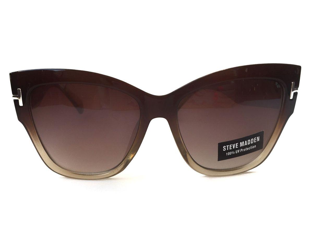 ff59015a6 óculos de sol olho de gato marrom degradê steve madden - óculos steve-madden