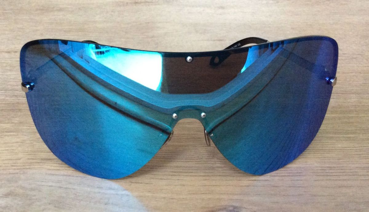 b32a14c6b óculos de sol polarizado lente grande tipo máscara cor espelhado azul -  óculos josejinn