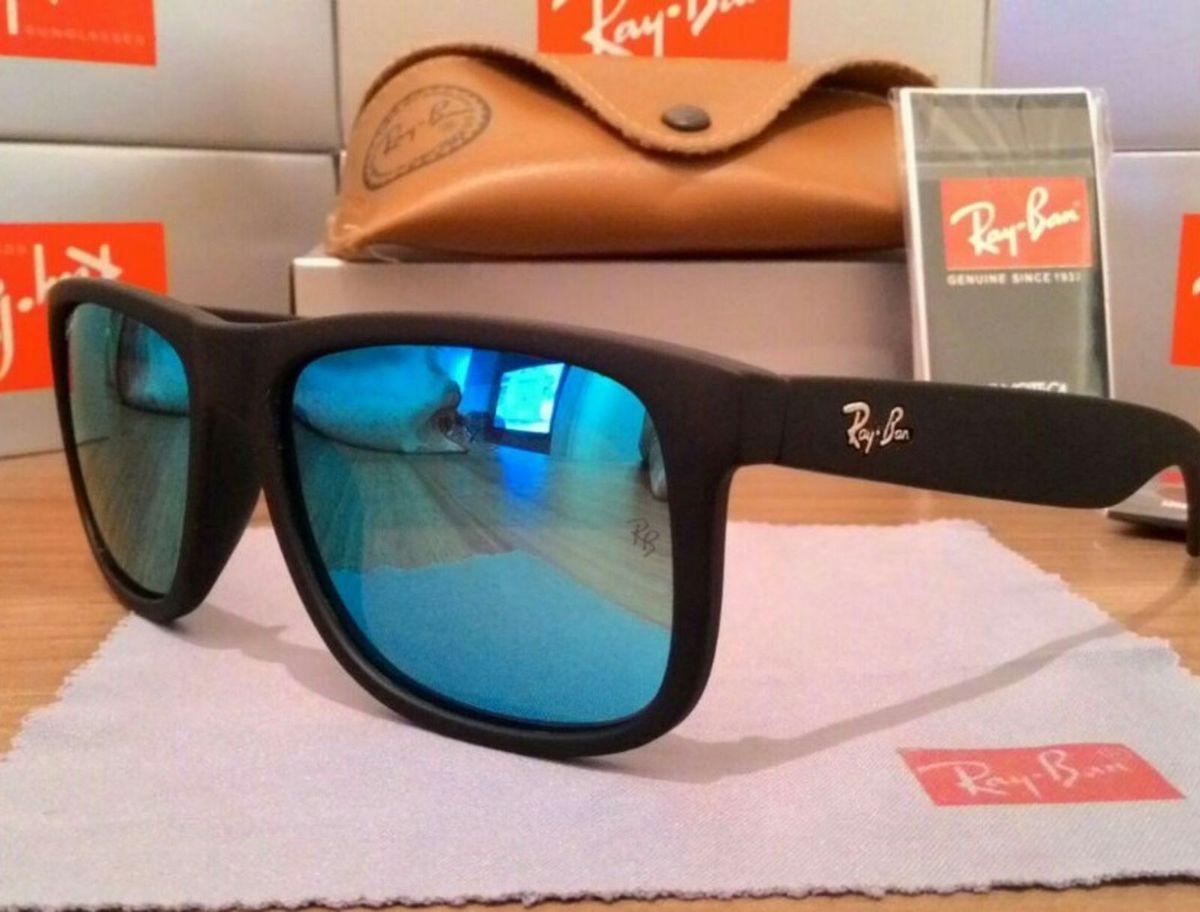 3b39859810c59 óculos de sol ray ban justin quadrado preto com lente azul - óculos ray-ban
