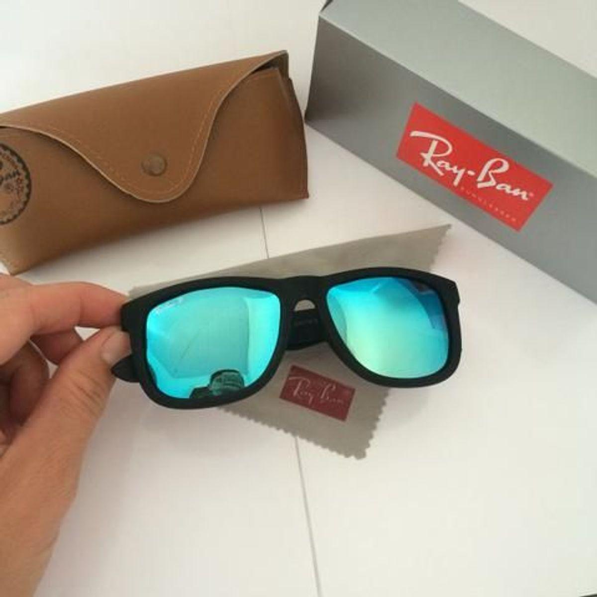 68c162148 óculos de sol ray ban 4165 justin espelhado azul importado - óculos ray-ban: