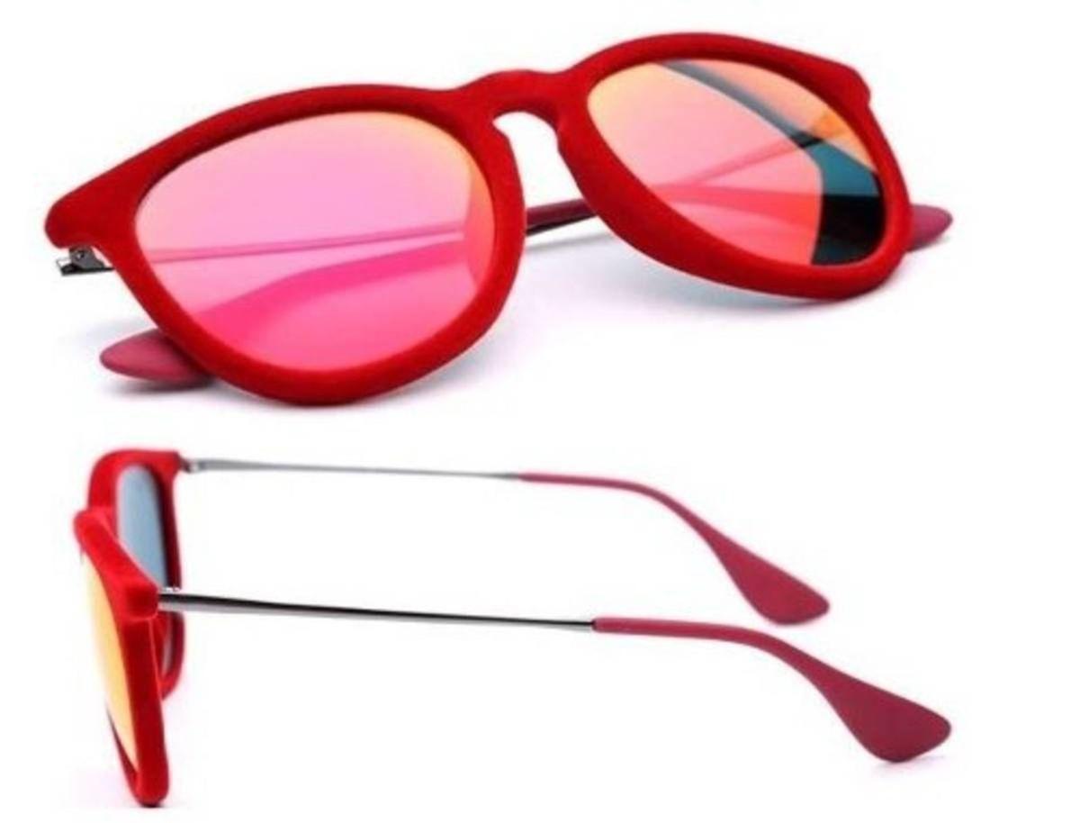 óculos de sol ray ban 4171 erika veludo vermelho espelhado original - óculos  ray-ban 87609600379f2