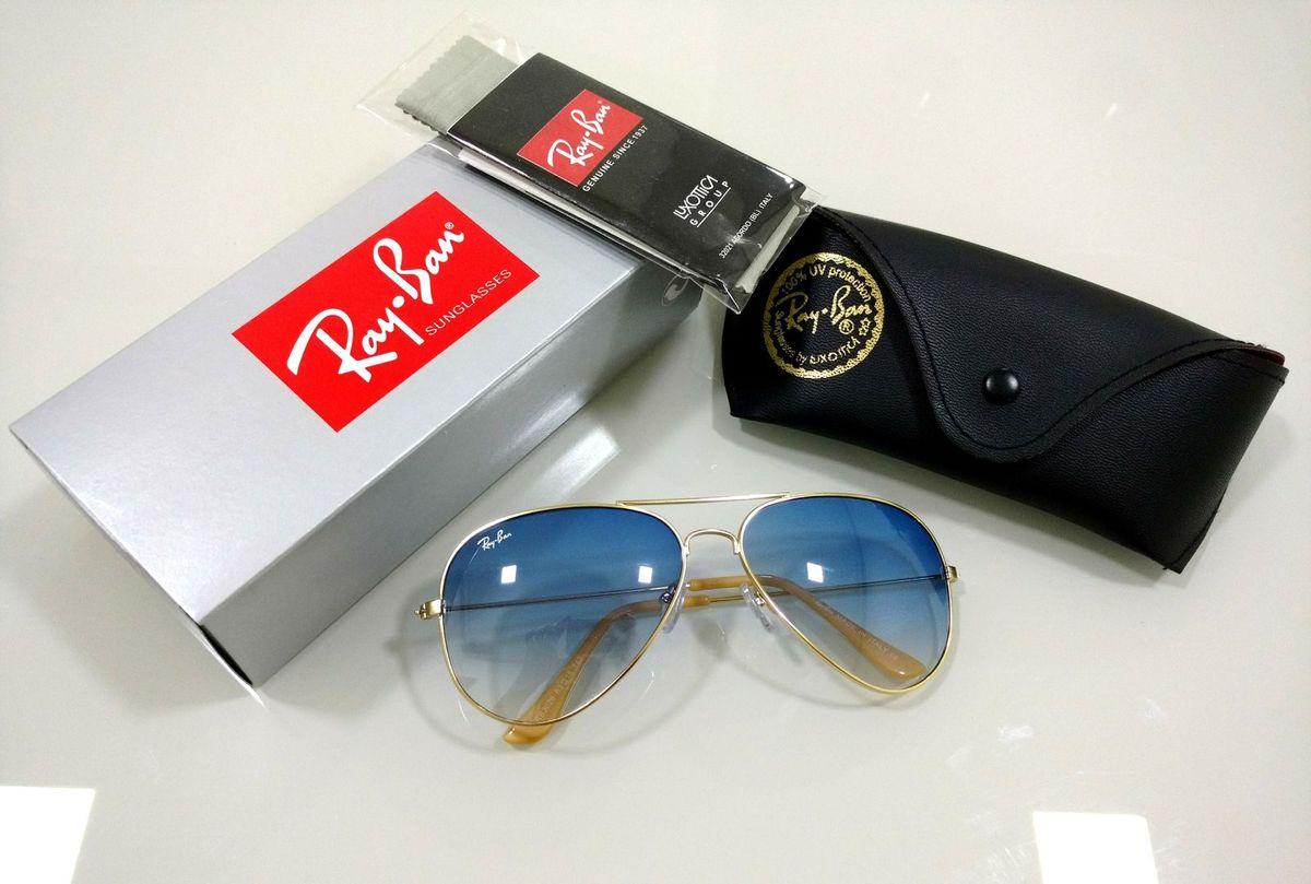 03cd3b806fb5b óculos de sol ray-ban aviador 3026 azul degradê masculino e feminino - óculos  ray