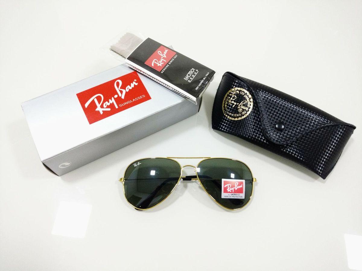 9885a9d0d óculos de sol ray ban aviador 3026 verde clássico armação dourada feminino  e masculino - óculos