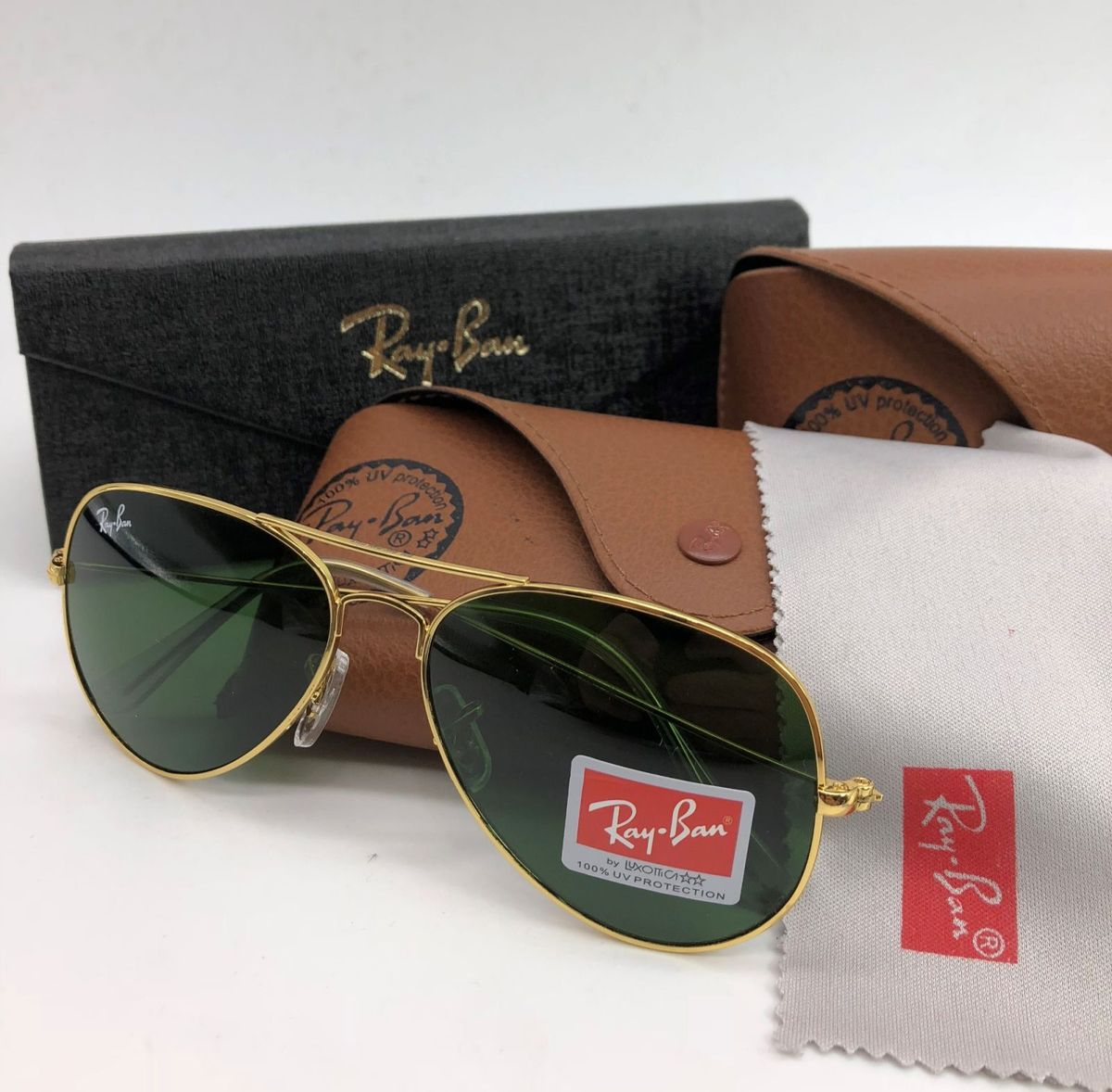 ab4c2d3e2 óculos de sol ray ban aviador aviator rb3025 rb3026 feminino dourado lente  verde cristal uv -
