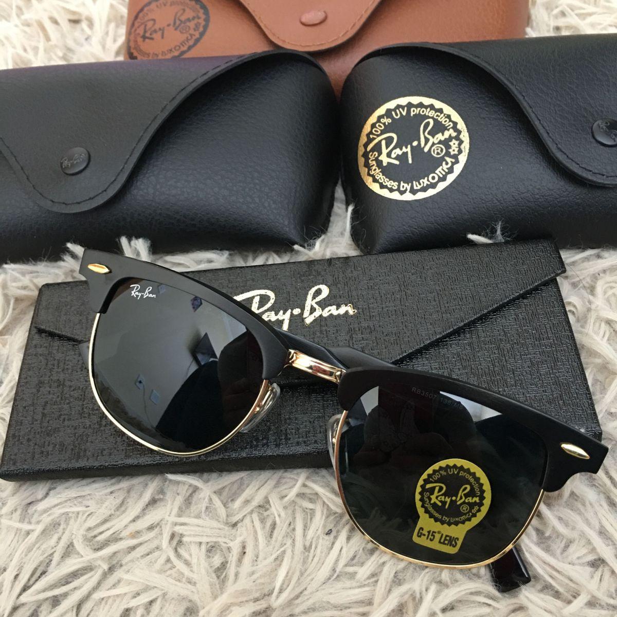 41a77c1dab91b Oculos de Sol Ray Ban Clubmaster Feminino Rb 3507 Preto Armação Alumínio  Lente Cristal