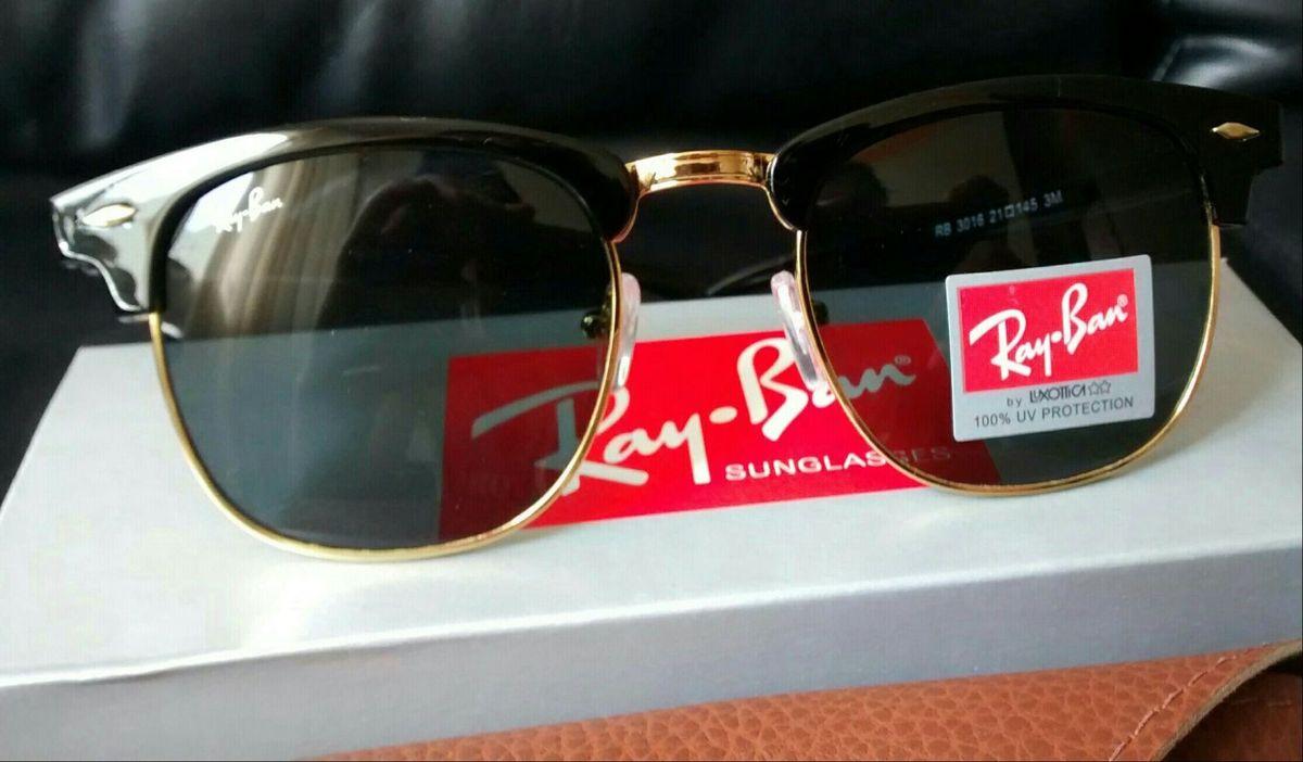d1438fef2 óculos de sol ray ban clubmaster preto lente cristal g15 novo - óculos ray- ban
