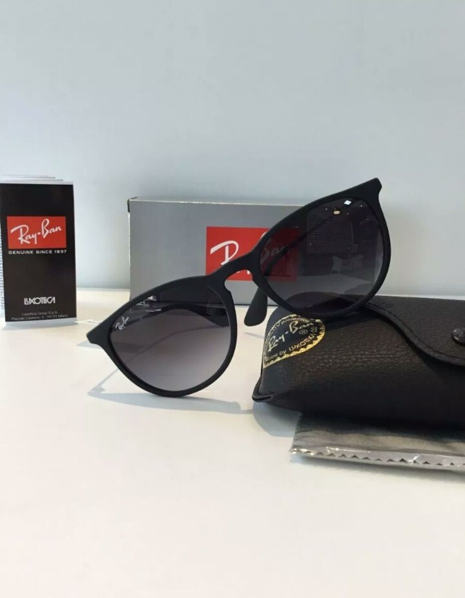 43fd96d4c óculos de sol ray ban érika preto degradê novo na caixa com kit - óculos ray