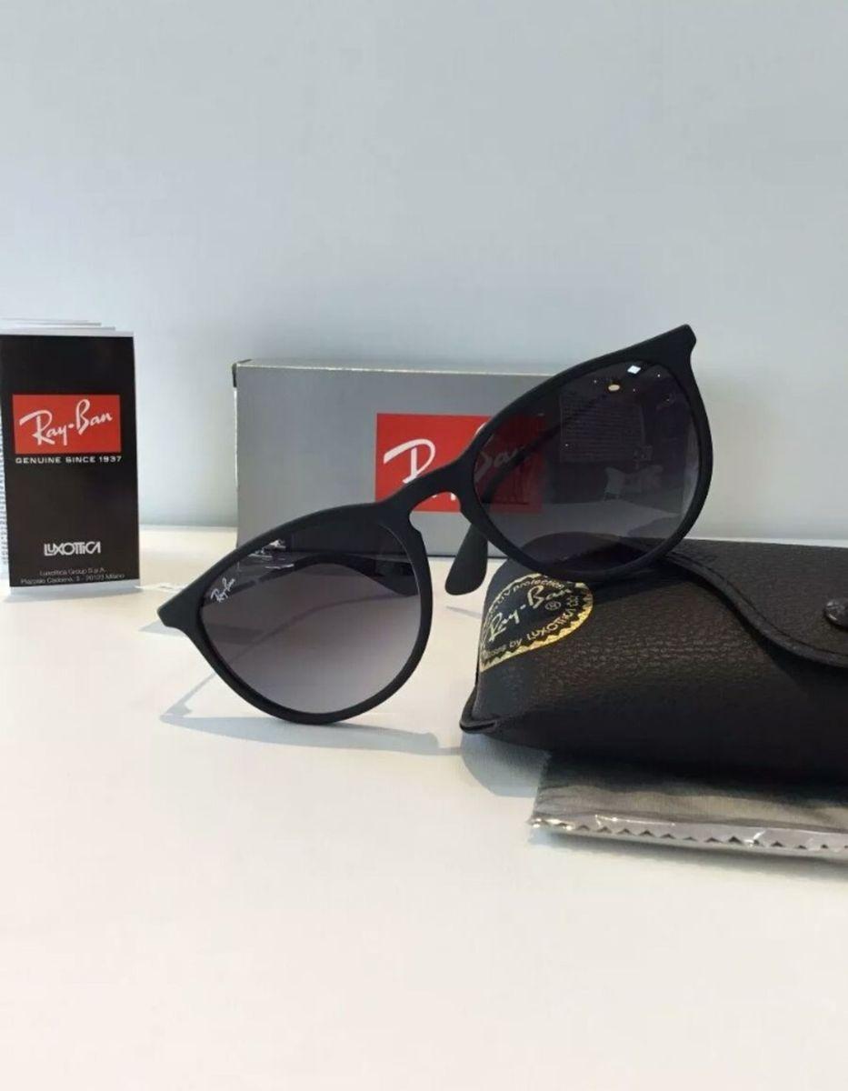 7759f6349 óculos de sol ray ban érika preto degradê novo na caixa com kit - óculos ray