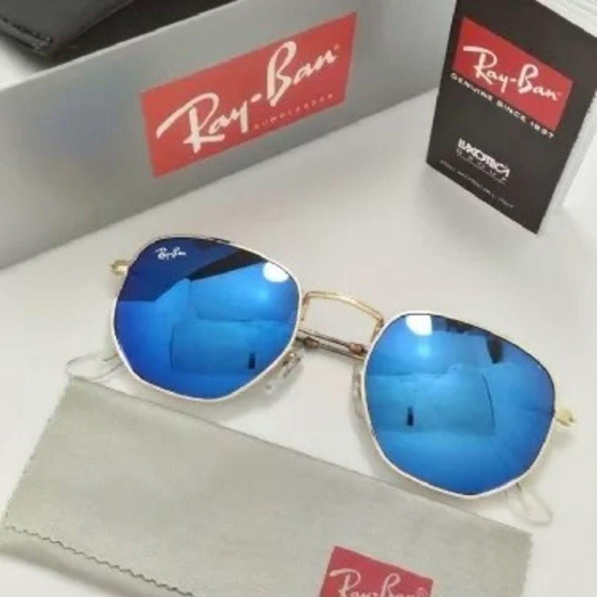 óculos de sol ray ban hexagonal espelhado azul feminino e masculino - óculos  ray-ban 8f1db86b61