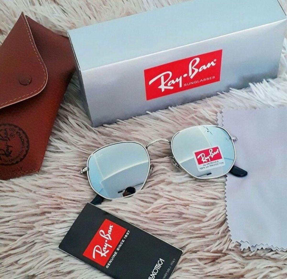 e62f25750 óculos de sol ray ban hexagonal espelhado prata round masculino e feminino  lançamento - óculos rb