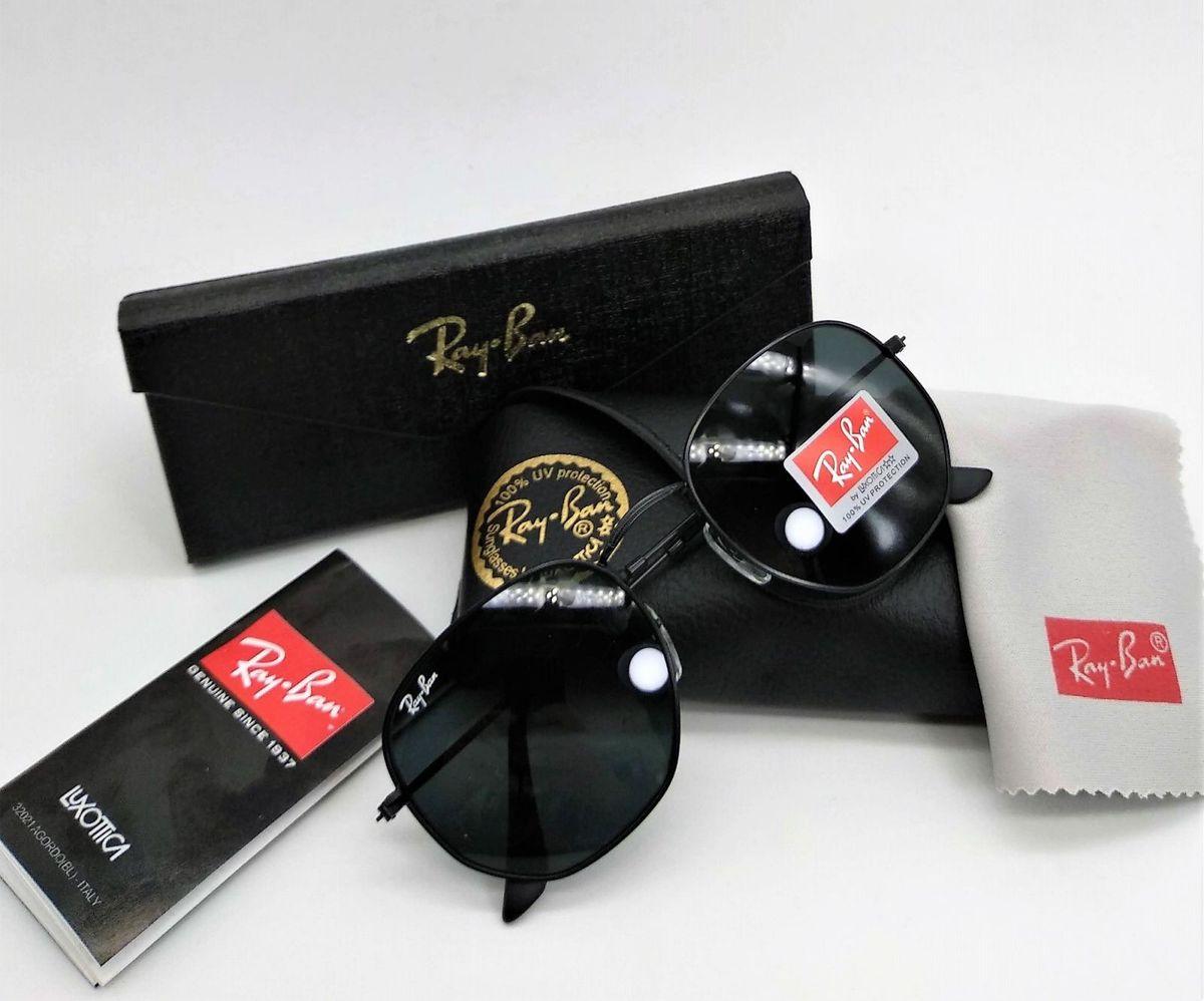 óculos de sol ray ban hexagonal masculino metal rb3548 preto lente preta  flat uva uvb - 2f2d448687
