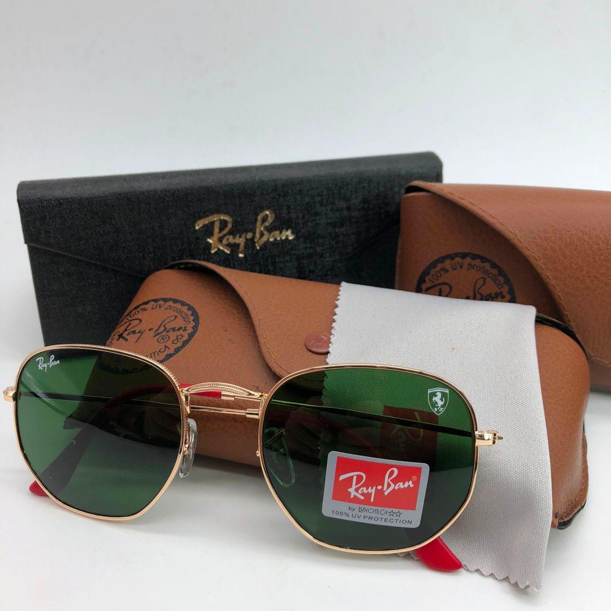 338589af821ef Oculos de Sol Ray Ban Hexagonal Rb3548 Ferrari Feminino Dourado Lente Verde  Cristal Uv