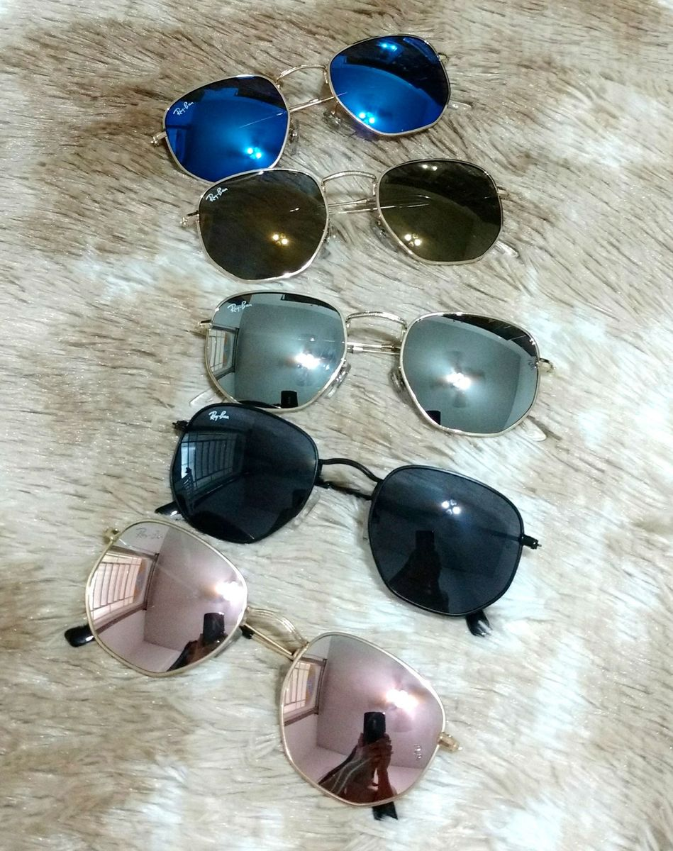839da6b67 Óculos de Sol Ray-ban Hexagonal Round Quadrado | Óculos Feminino Ray ...