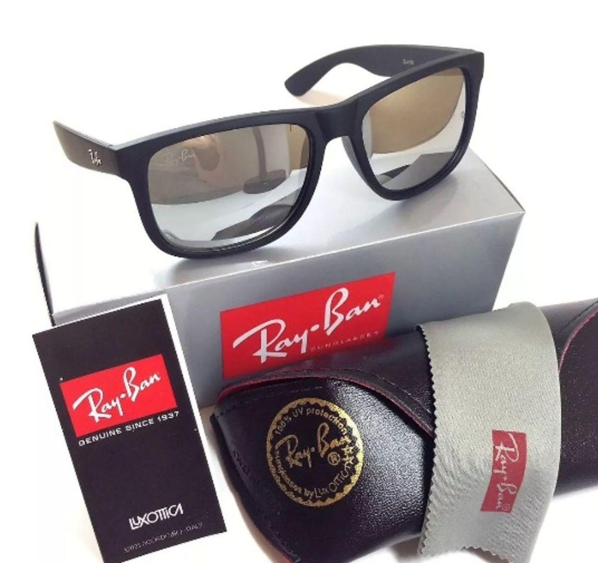 óculos de sol ray ban justin 4165 espelhado prata masculino - óculos ray-ban ea80bd819e