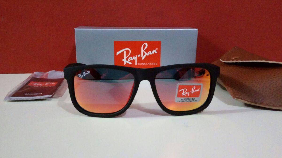 13807675d óculos de sol ray ban justin alaranjado polarizado novo na caixa - óculos  ray-ban