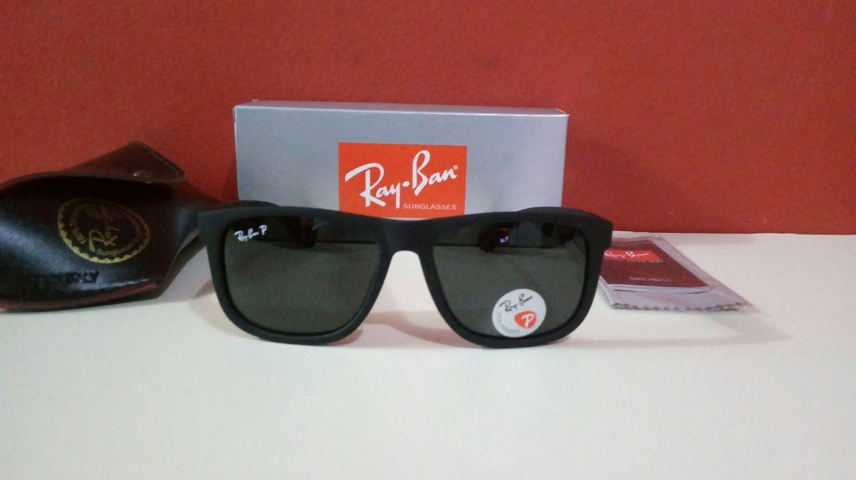 eeeb09c4f óculos de sol ray ban justin polarizado novo na caixa com acessórios - óculos  ray-