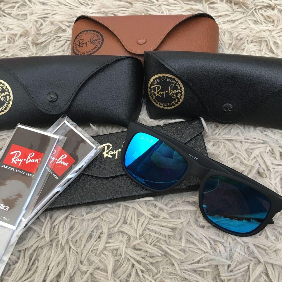 óculos de sol ray ban justin rb4165 masculino azul naval lente espelhada  proteção uva uvb - 0c1b5da8ce