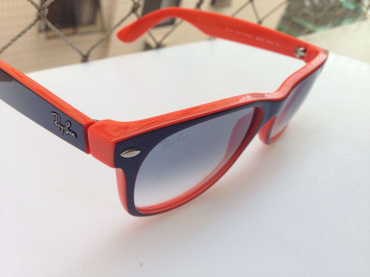 b3e3d27df óculos de sol ray-ban new wayfarer azul claro degradê e azul escuro/laranja