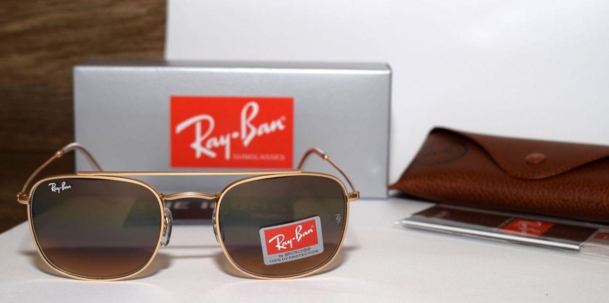 dfc9891b0b581 Óculos de Sol Ray-ban Rb3557 Dourado Lente Marrom   Óculos Masculino ...