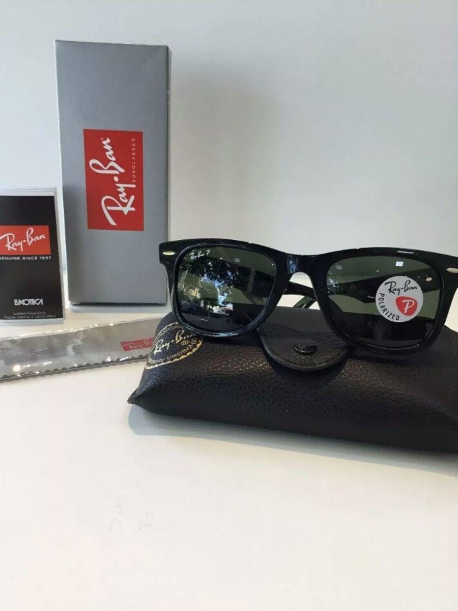 28c4af486 óculos de sol ray ban wayfarer preto fosco classico novo na caixa com kit -  óculos