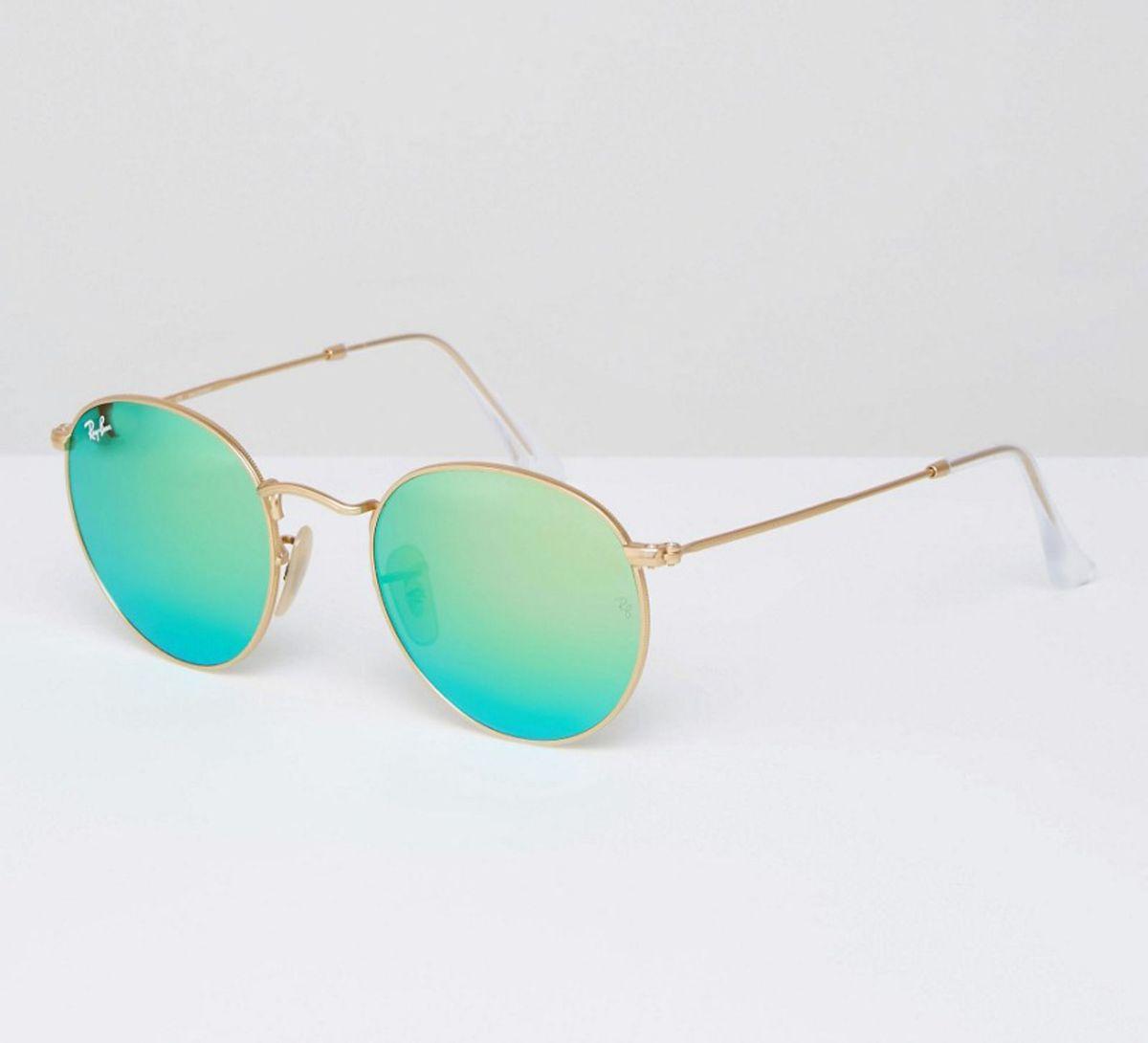 Óculos de Sol Ray-ban Round Metal Verde   Óculos Feminino Ray Ban ... 97e4657ae4