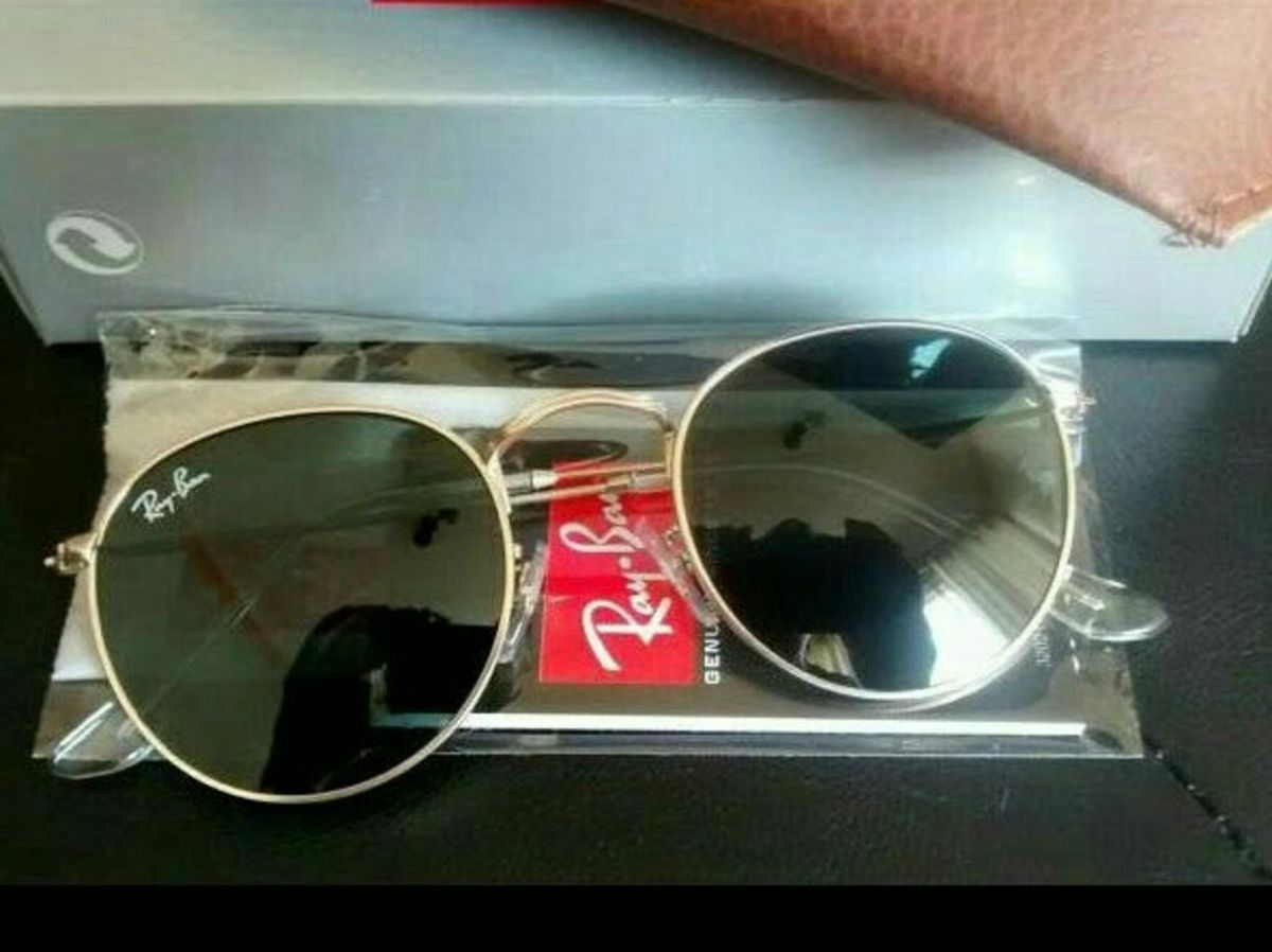 óculos de sol ray ban round preto com armação dourada lemte cristal redondo  - óculos ray 218c637f40