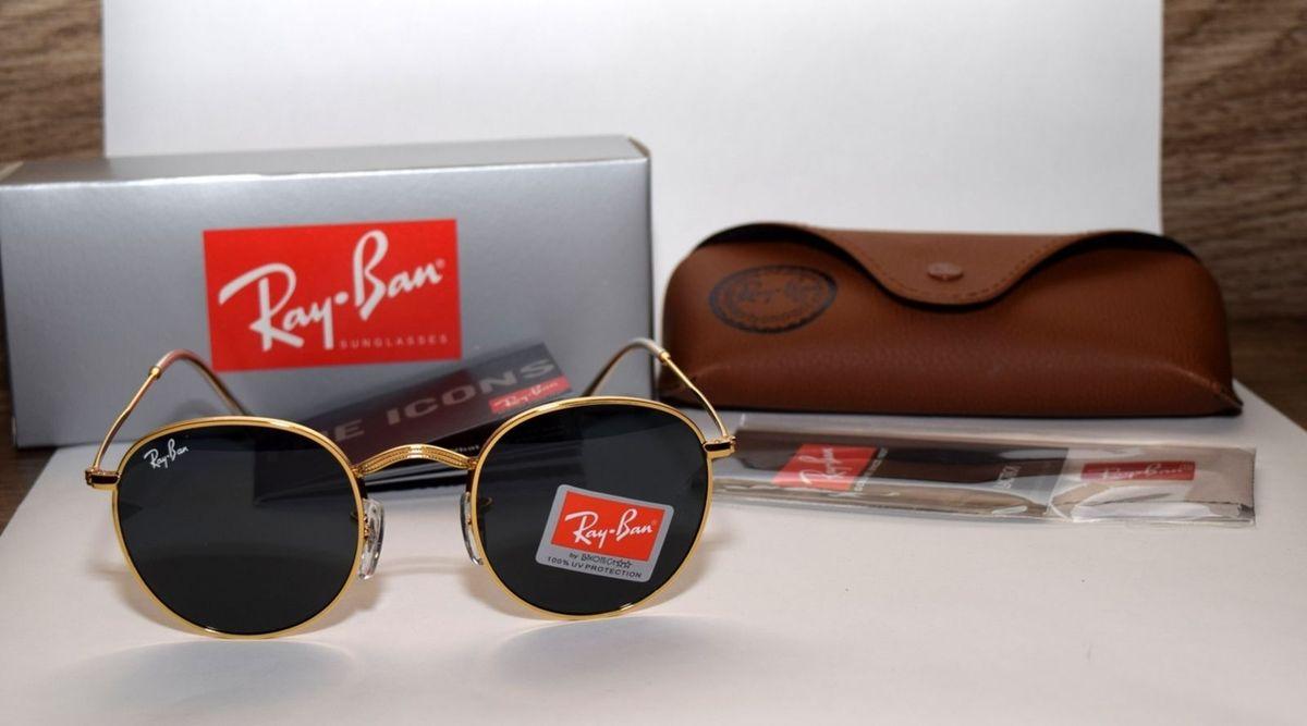 5e0544c9697a6 óculos de sol ray-ban round rb3447 dourado lentes pretas - óculos ray-ban