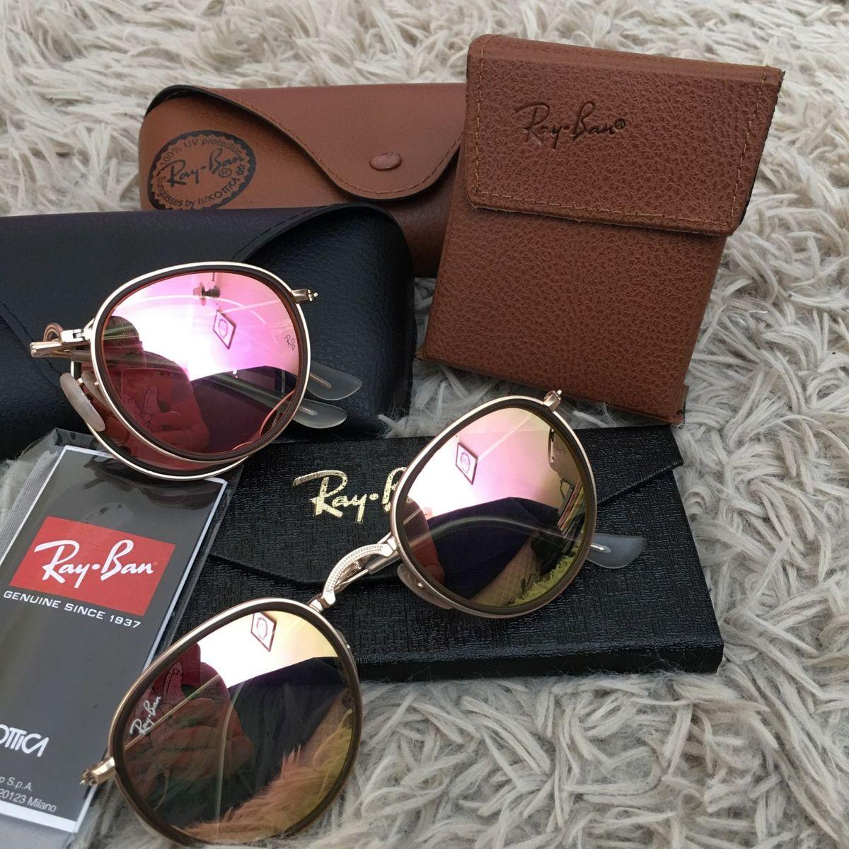 ff802243f Oculos de Sol Ray Ban Round Rb3517 Dobravel Feminino Sunglasses Dourado  Lentes Rosa Rose Uva Uvb | Óculos Feminino Ray Ban Nunca Usado 29398402 |  enjoei