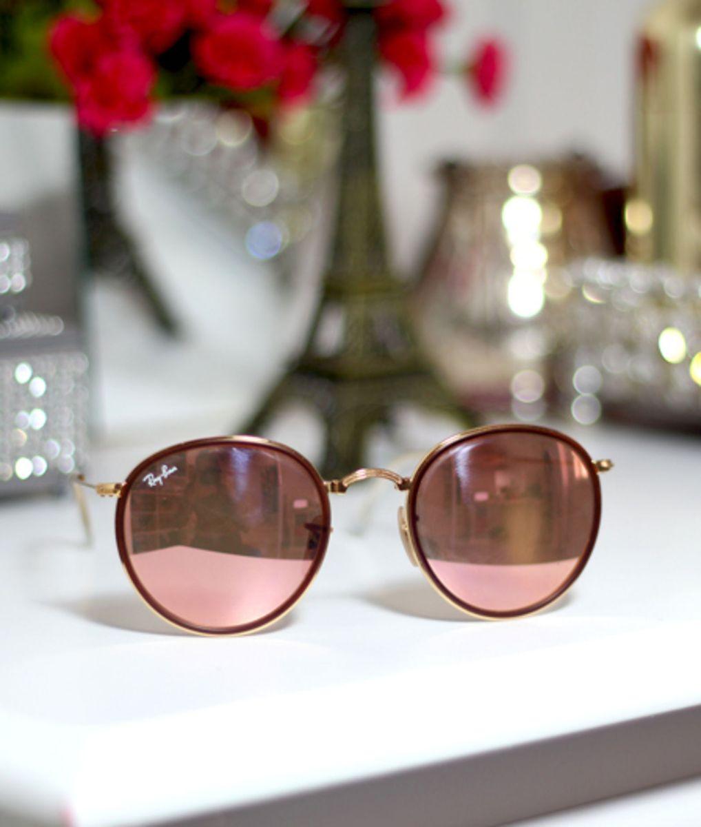 d7c6e35f1 Óculos de Sol Ray Ban Round Rose Dobrável | Óculos Feminino Ray Ban ...