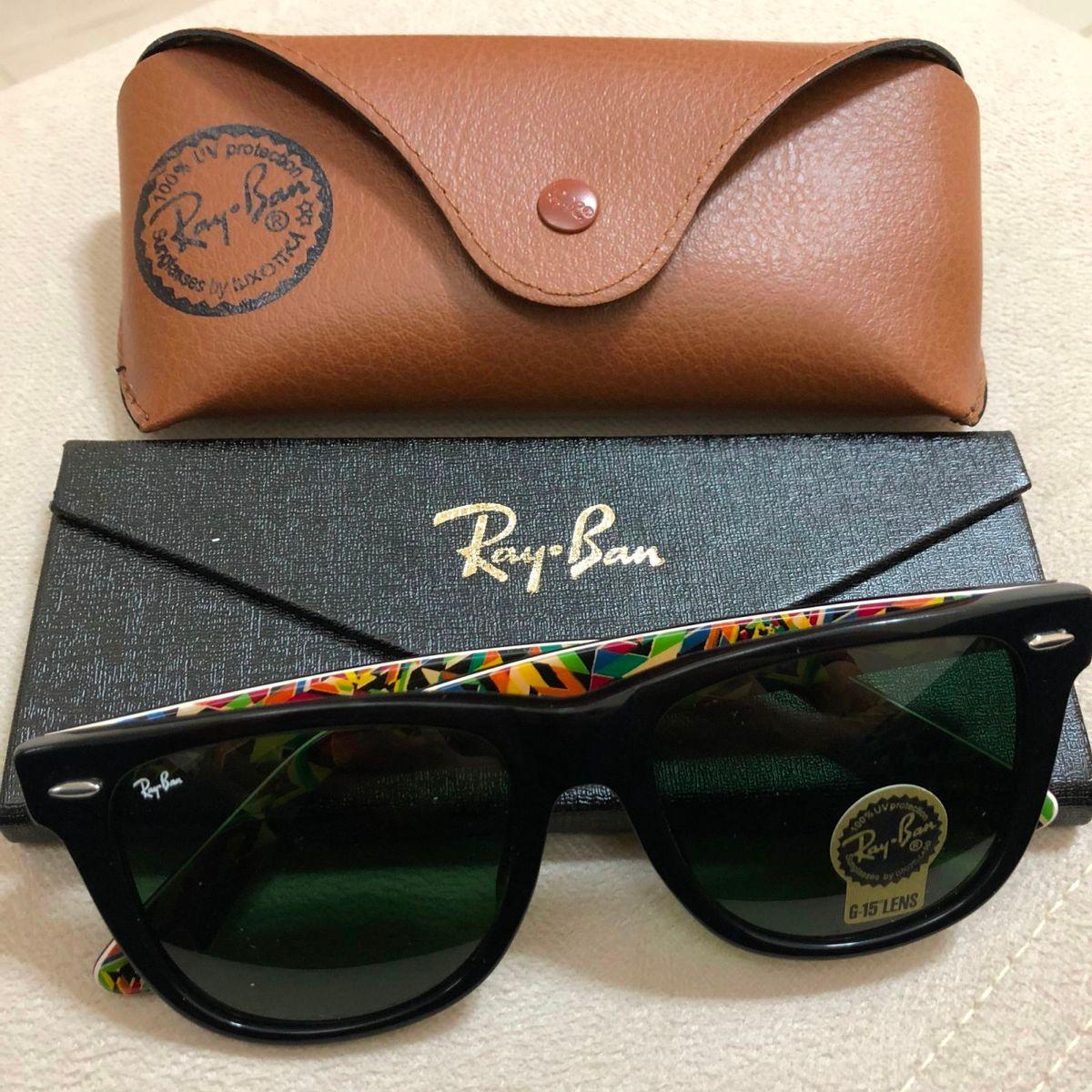 ca5749152 oculos de sol ray ban wayfarer rb2140 numeração c3 masculino preto lente  verde cristal colorido -
