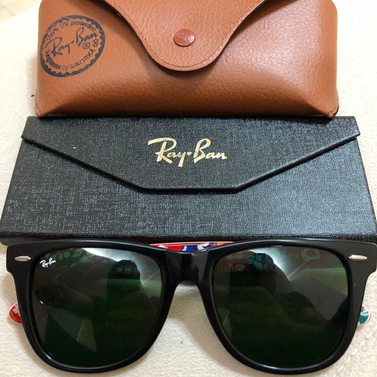 e839d41138532 Oculos de Sol Ray Ban Wayfarer Rb2140 Numeração C4 Masculino Preto Vermelho  Lente Verde Cristal