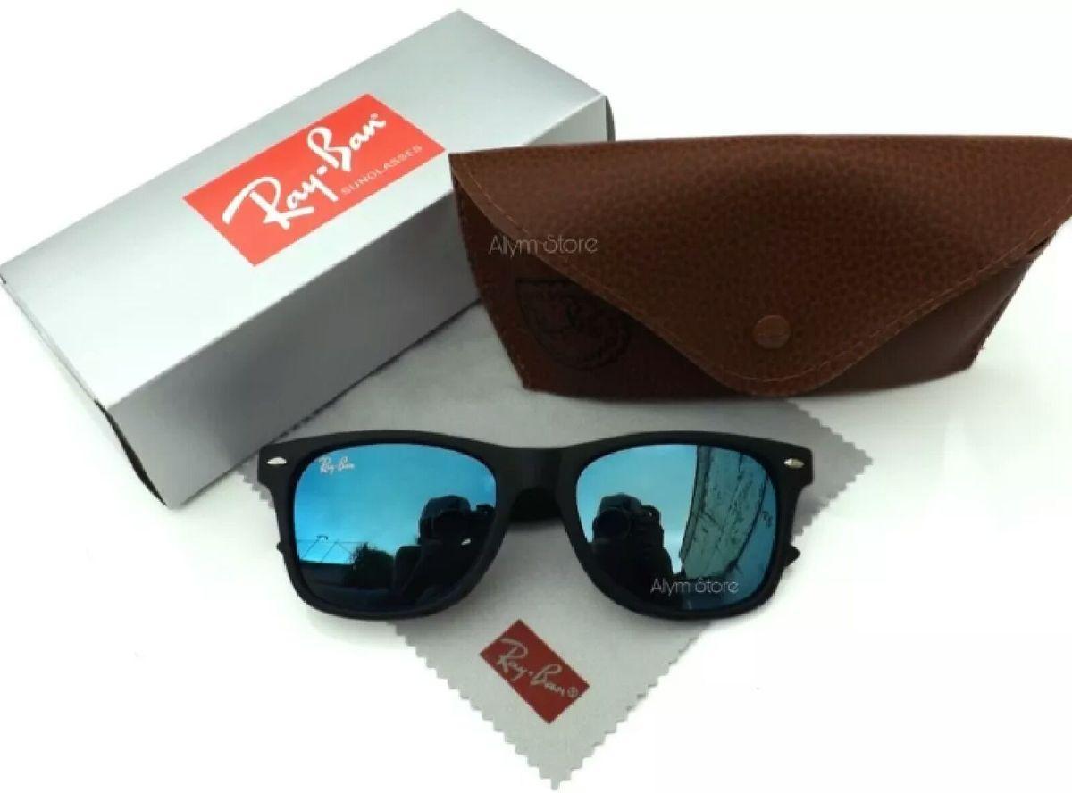 a1f9ba67e óculos de sol rayban wayfarer 2140 lente azul claro espelhado novo na caixa  com kit -
