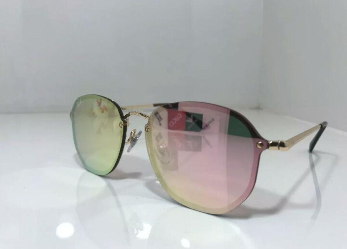 750778b44 óculos de sol rayban blaze hexagonal rose novo na caixa com kit - óculos ray -