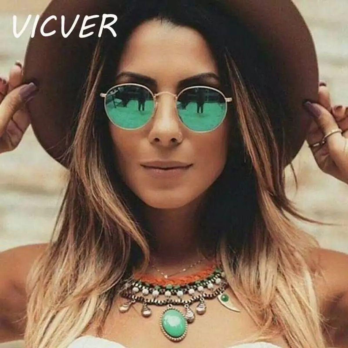 e8e8d6dc6 Óculos de Sol Redondo Espelhado Verde | Óculos Feminino Vicver Nunca Usado  31664467 | enjoei