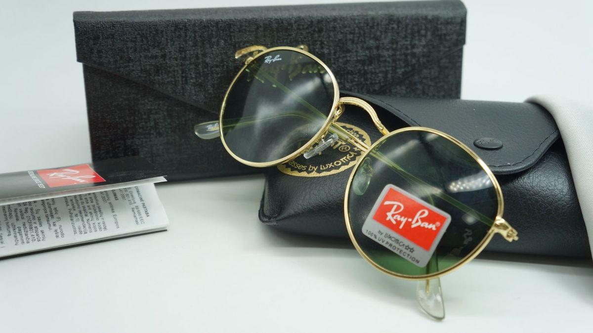 a6918aa27 oculos de sol round ray ban redondo masculino dourado lente verde cristal  uv - óculos ray