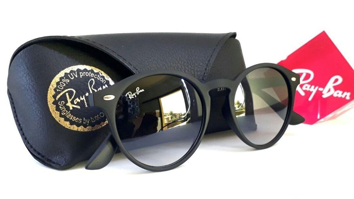2a9ee4d7f2c3c Óculos de Sol Round Rb2180 Preto Fosco Unissex   Óculos Feminino Ray ...