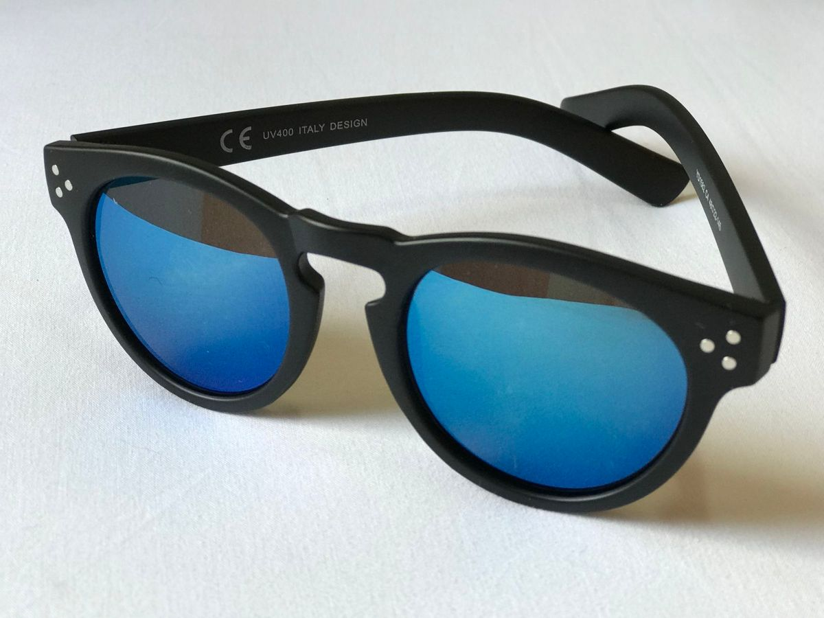 b7522f5e8 Óculos de Sol Style - Lente Azul Espelhada | Óculos Feminino Nunca ...