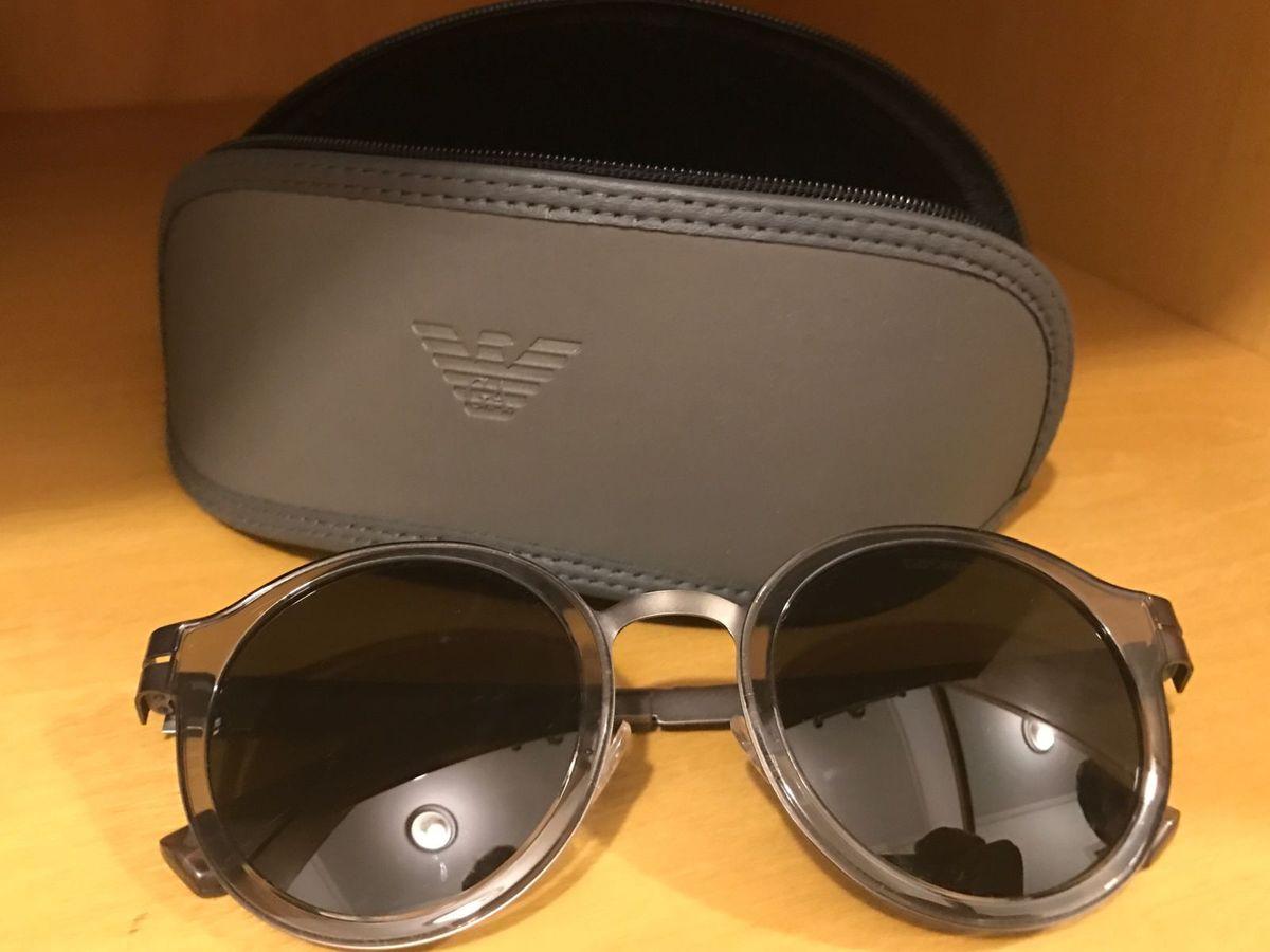 óculos empório armani original cinza redondo masculino, lindíssimo! - óculos  emporio-armani 48d57e643f