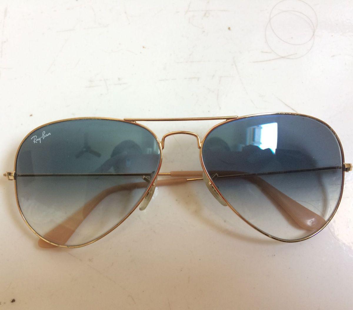 Óculos Escuro Aviador Rayban Azul e Dourado   Óculos Feminino Ray ... bb5adfe1b4