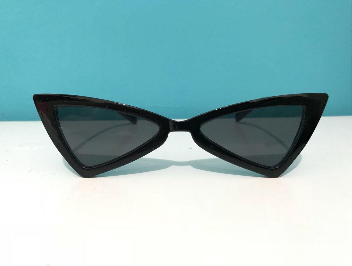 59c4a3b6f Óculos Escuro Gatinho Triangular Preto | Óculos Feminino Peekaboo ...