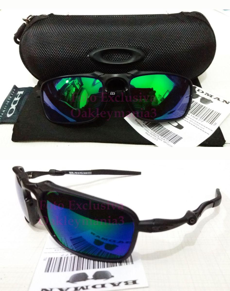 205674139 oculos oakley badman black fosco lente verde esmeralda g26 polarizada +  case rigido porta oculos -